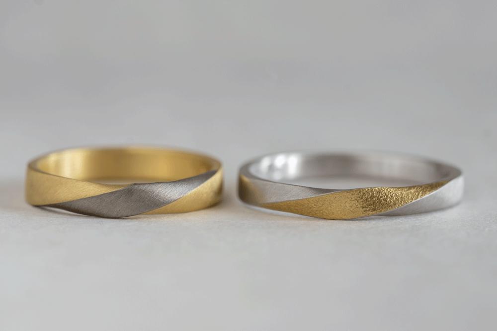 ねじった形状のリングもコンビネーションが可能です。