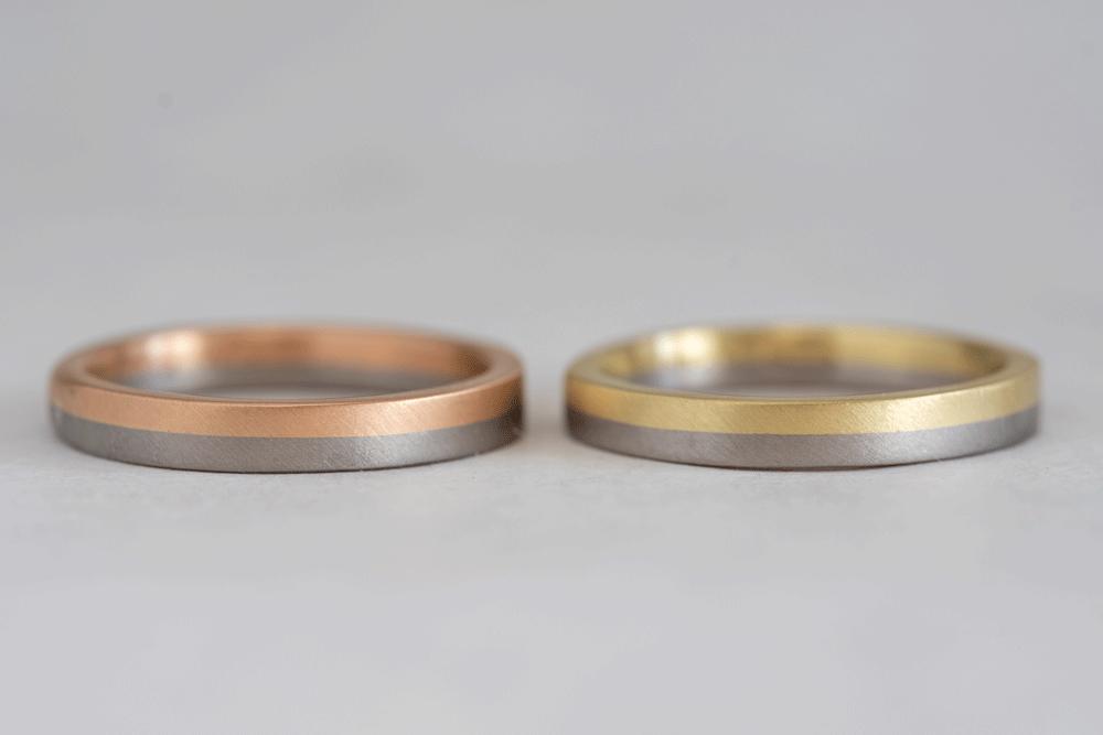 指輪の上下で異なる金属素材を選ぶパターン。